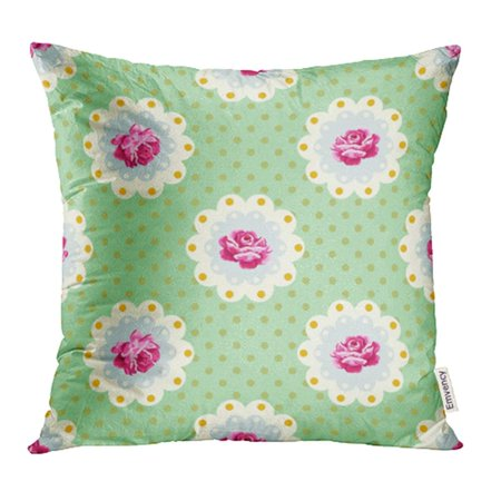 YWOTA Purple Classic Vintage Rose Pattern Shabby Chic Blue Blossom Botanical Cottage Pillow Cases Cushion Cover 20x20 inch ()
