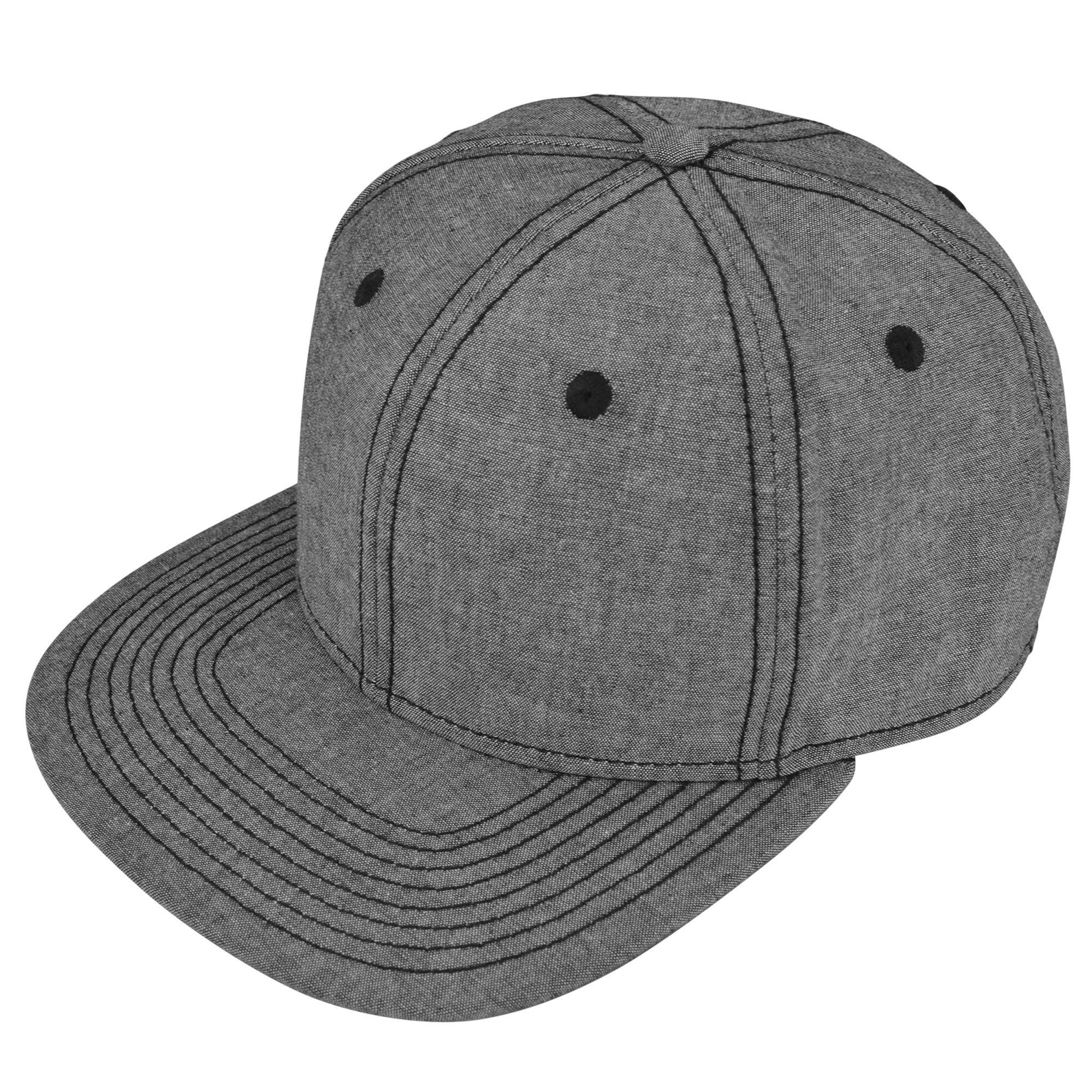 DALIX Premium Flat Bill Snapback Chambray Hat 6 Panel Cap (Black)