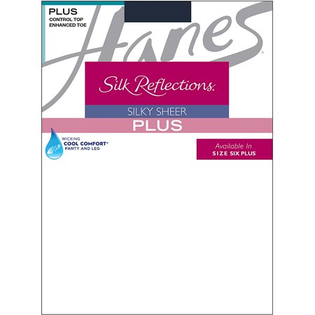 Silk Reflections Womens Plus-Size Control Top Enhanced Toe Pantyhose ()