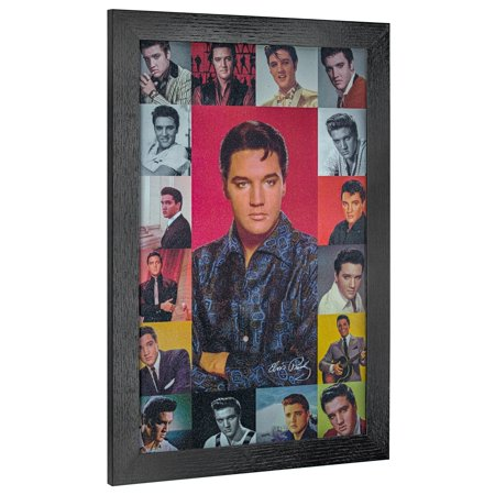 American Art Decor Vintage Elvis Presley Photo Collage Framed Wall Art - Multi-color