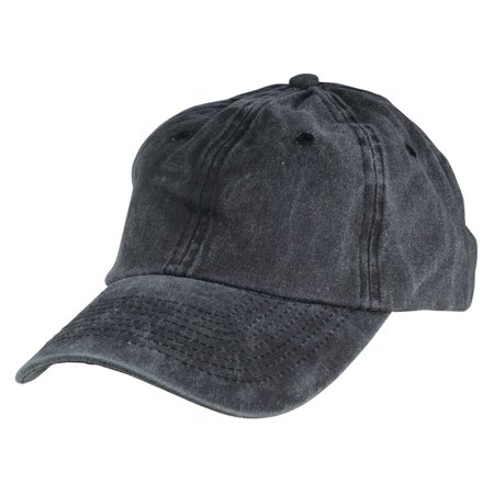 DALIX Pigment Dyed Hat Heavy Washed Cotton Baseball Cap in Black