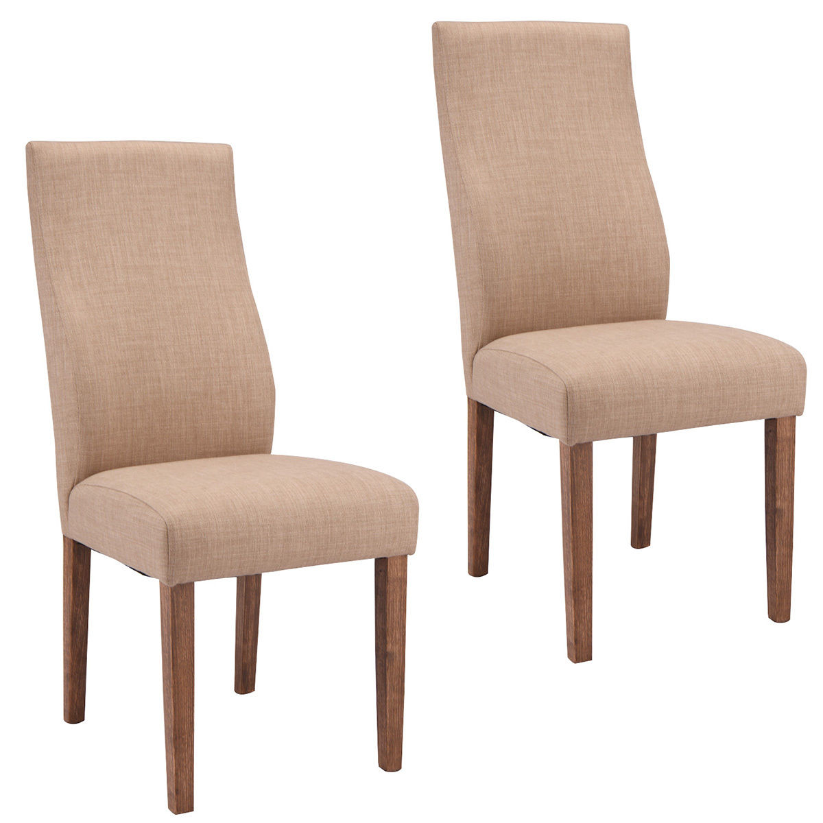 Costway Set Of 2 Dining Chairs Fabric Upholstered High Back Armless Home Furniture