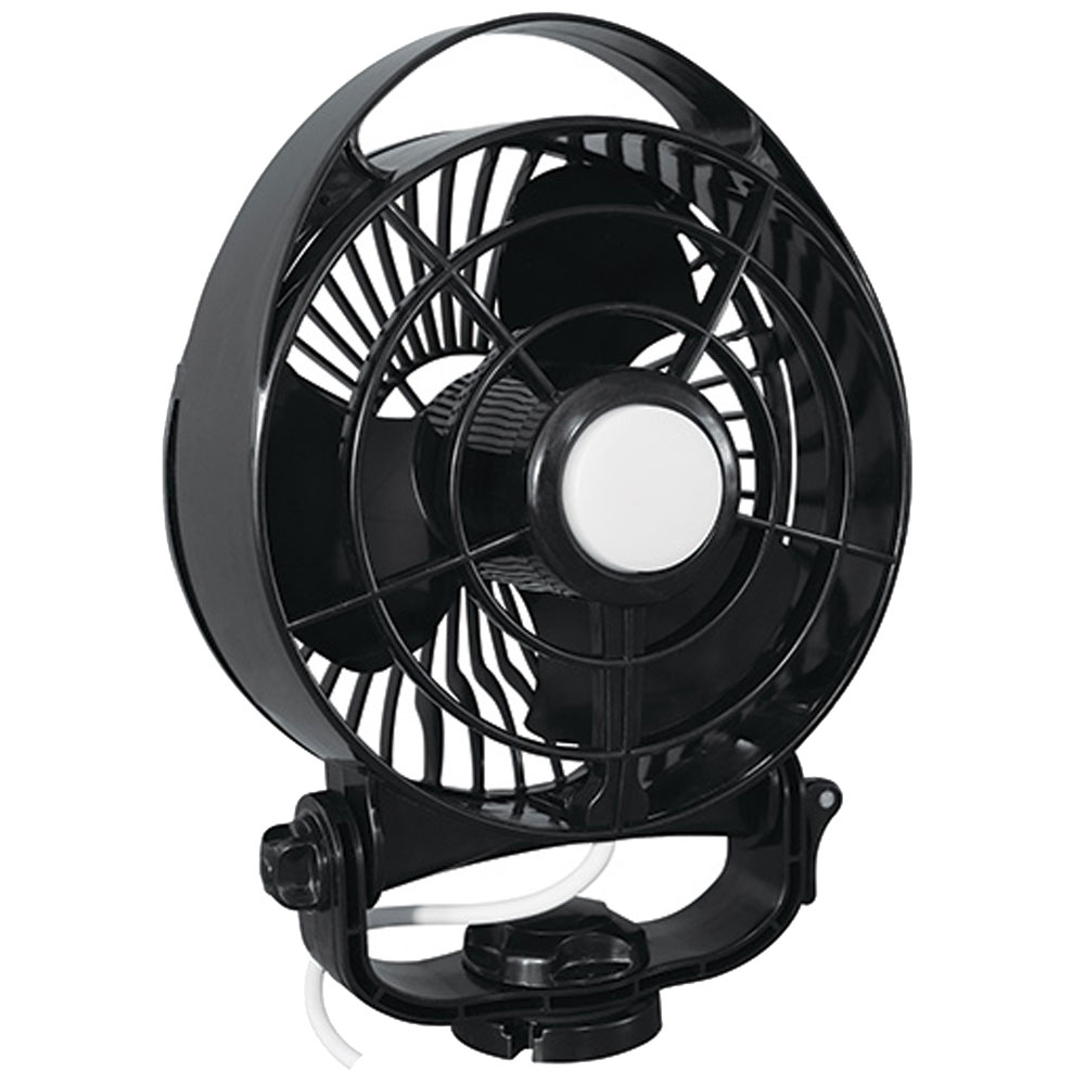 "CAFRAMO MAESTRO 12V 3-SPEED 6"" MARINE FAN BLACK W/ LED LIGHT"