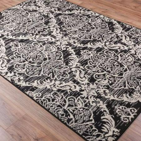 damask oriental lattice moroccan trellis black and ivory area rug 5