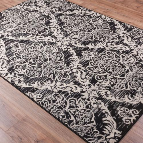 High Quality Well Woven Malibu Lattice Damask Oriental Lattice Moroccan Trellis Black  And Ivory Area Rug (5
