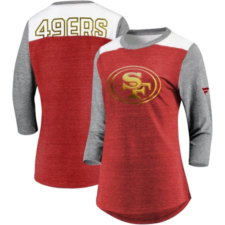 San Francisco 49ers NFL Pro Line by Fanatics Branded Women's Iconic 3/4 Sleeve T-Shirt - Heathered Scarlet/Heathered Gray ()