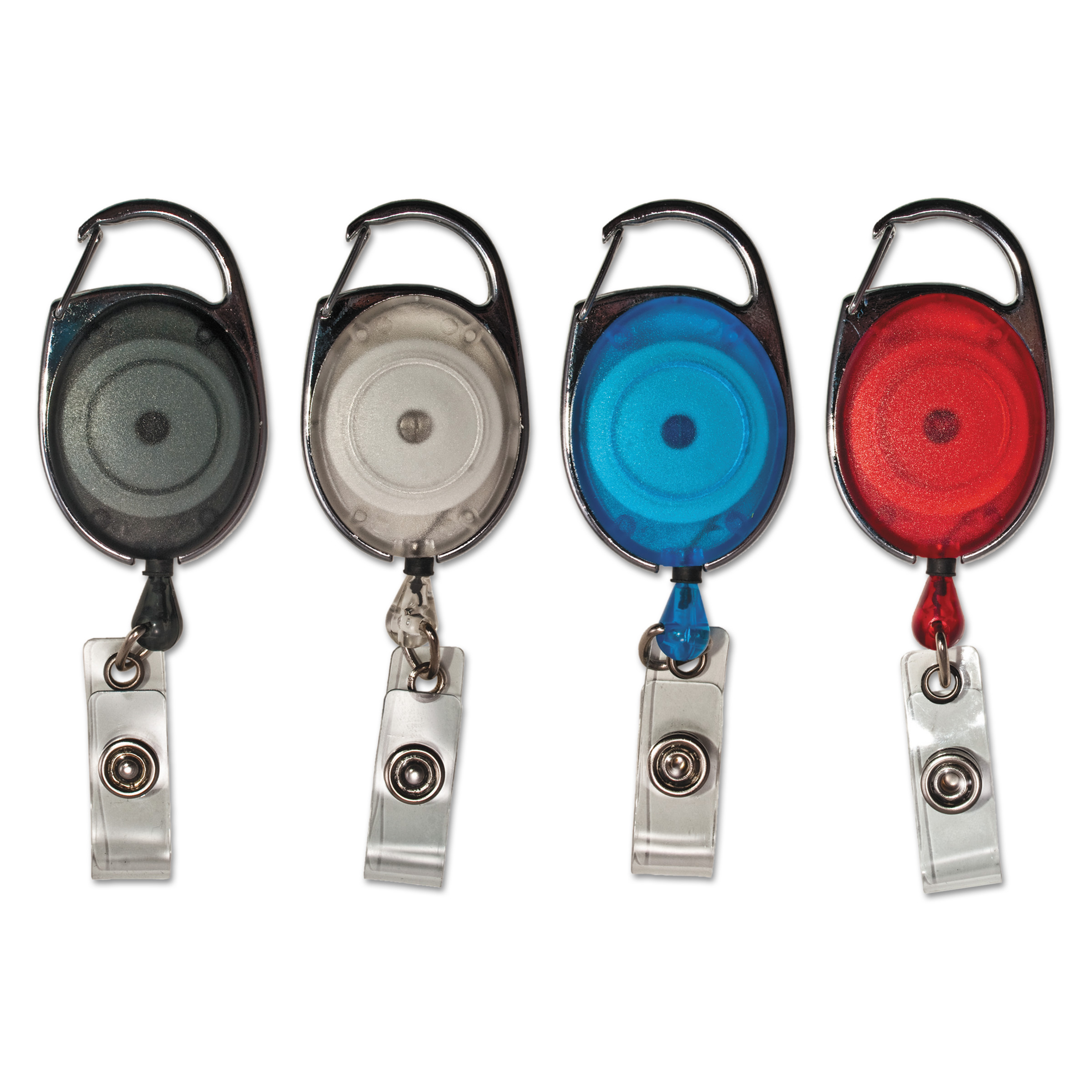 """Advantus Carabiner-Style Retractable ID Card Reel, 30"""" Extension, Assorted, 20/Pack"""