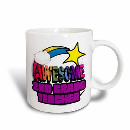 3dRose Shooting Star Rainbow Awesome 2nd Grade Teacher, Ceramic Mug, - Grande Ceramic