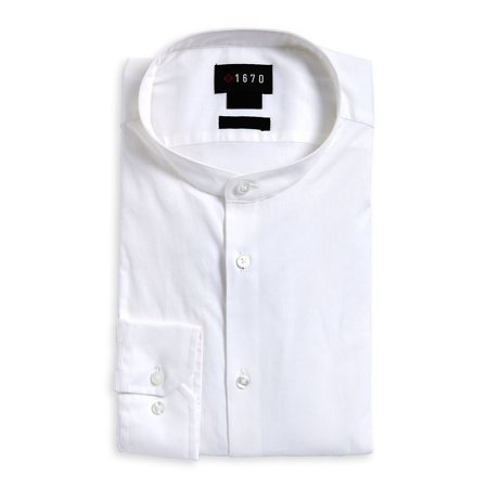 2ebc26053d59c0 1670 - Slim-Fit Band Collar Dress Shirt - Walmart.com