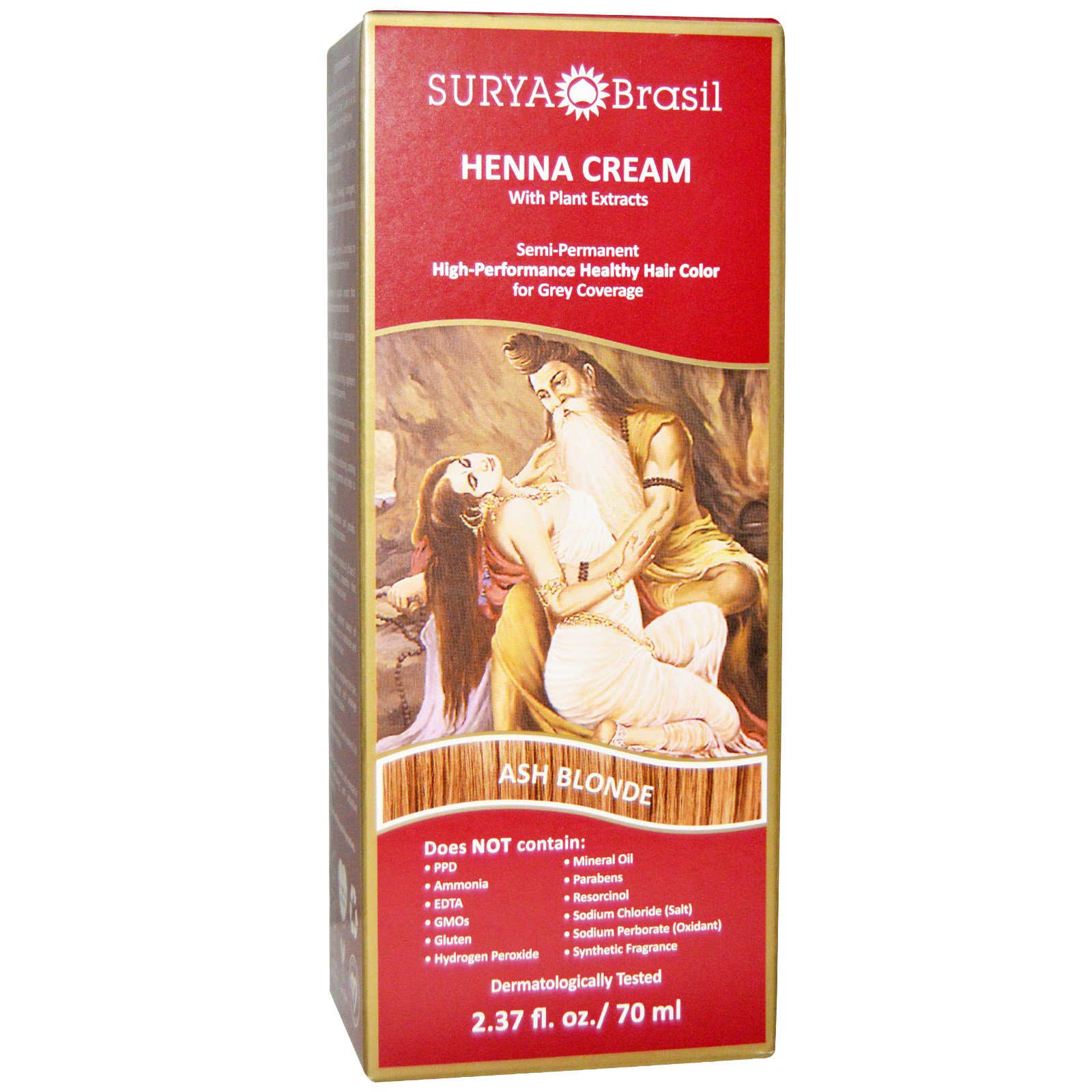 Surya Henna, Henna Cream, Hair Color and Conditioner, Ash Blonde, 2.37 fl oz (pack of 4)
