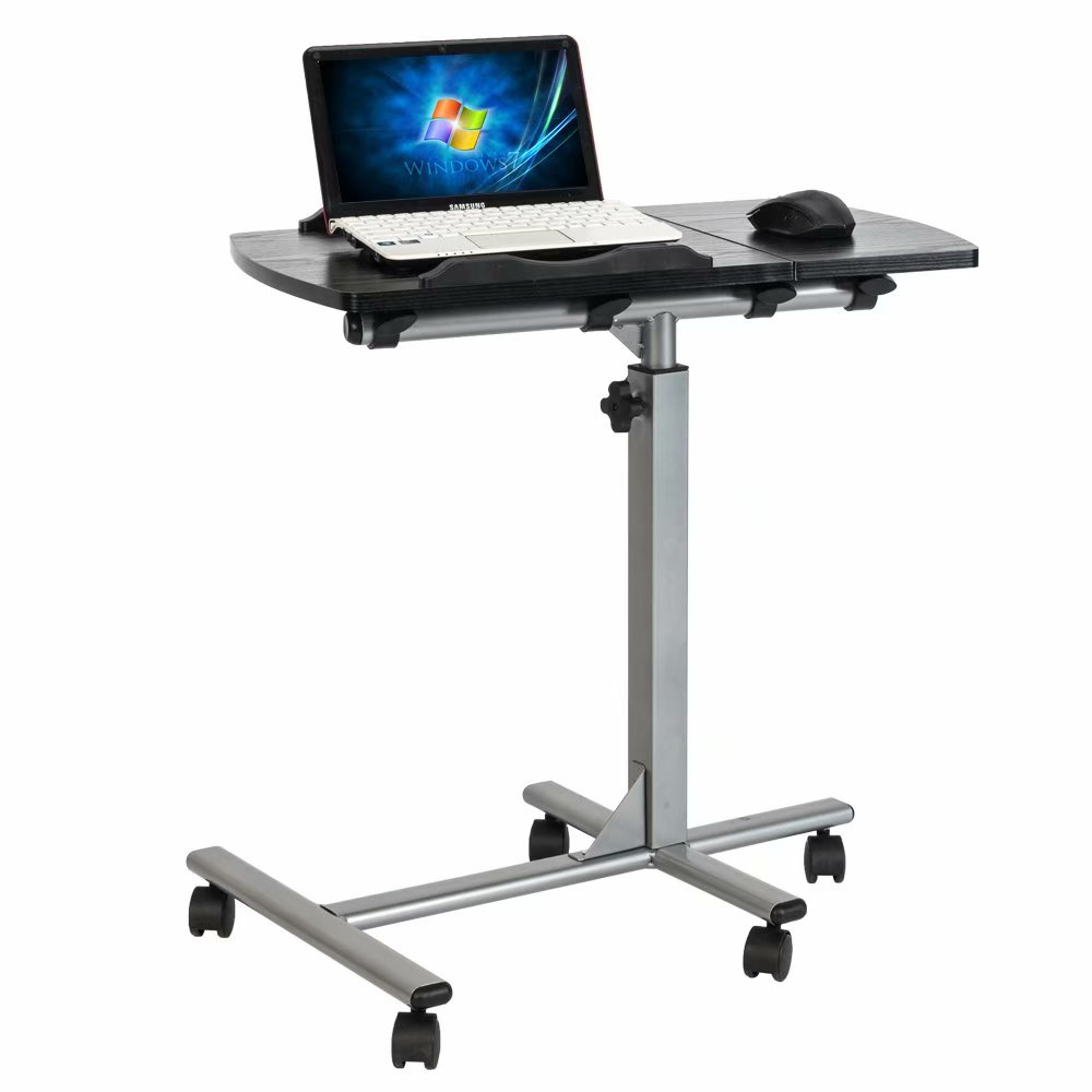 Angle Adjustable Height Notebook Stand Tiltable Tabletop Desk Sofa Side Table Portable Rolling Laptop Table Black, 17.32 /× 15.75 /× 24.4-37.4 inch. Overbed Table with Wheels and Storage Shelves