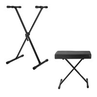 Knox Adjustable Single X Keyboard Stand + Adjustable X Style Keyboard Bench
