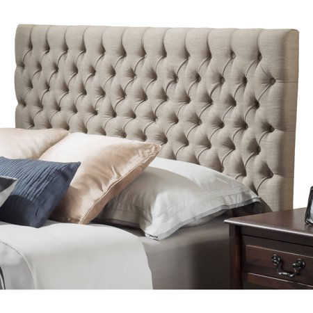Noble House Newton Modern Contemporary Tufted Fabric King/Cal King Headboard, Sand