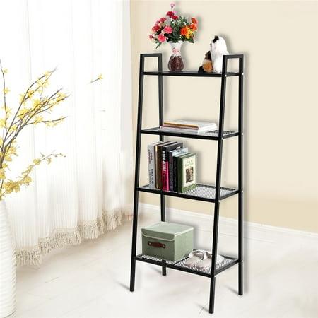 4-Tier Ladder Shelf Bookcases Corner Leaning Ladder Shelf,Black Big ()