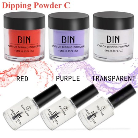 6 Sets of Dipping Powder Tool Kits without Cure Dip Powder Nails Healthy Nail - Red Halloween Nail Art