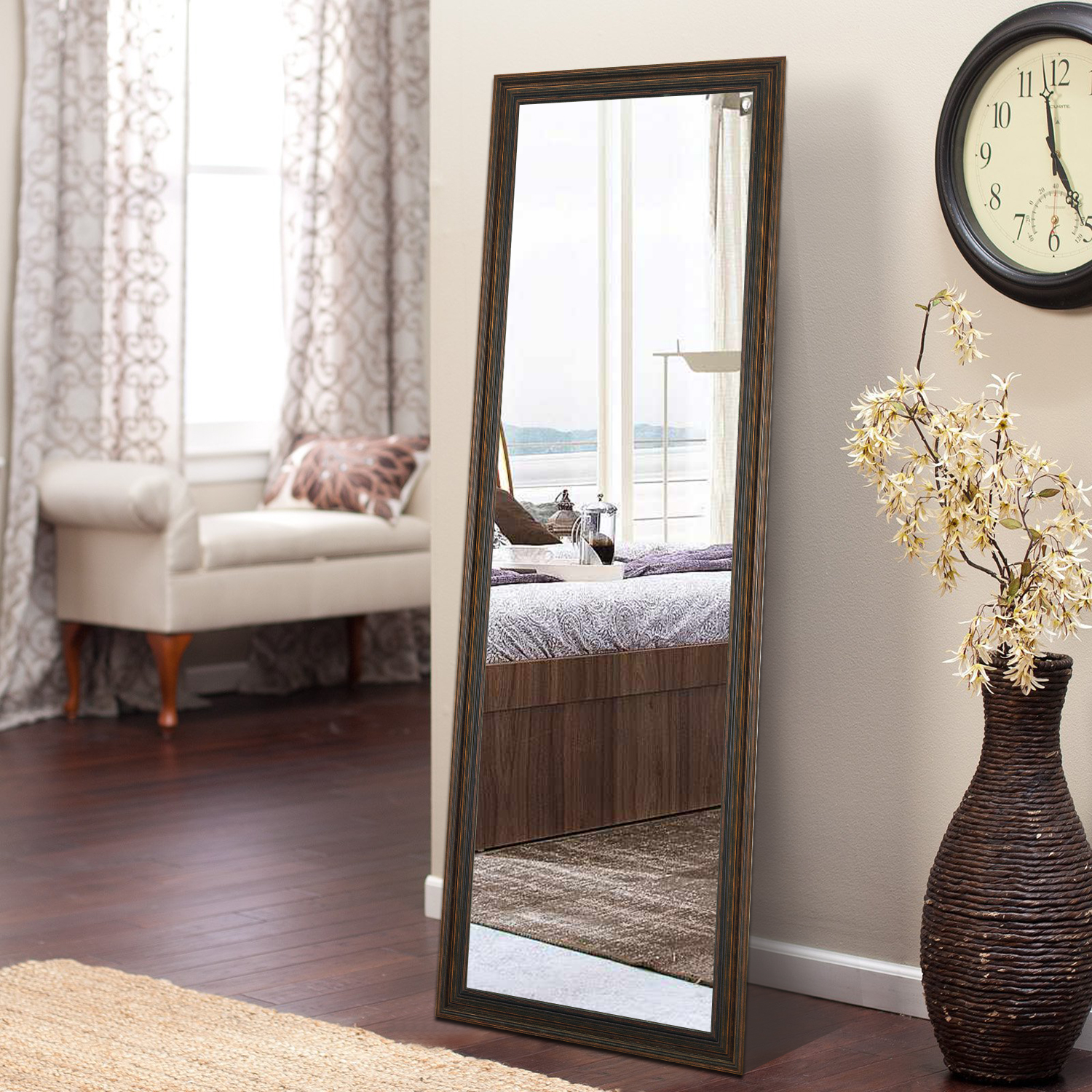 Full Length Mirror Floor Mirror With Standing Holder Wall Mounted Mirror Hanging Horizontally Vertically For Bedroom Living Room Entry Bronze 65 X 22 Walmart Com Walmart Com