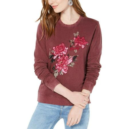 Lucky Brand Womens Graphic Crew Neck Sweatshirt
