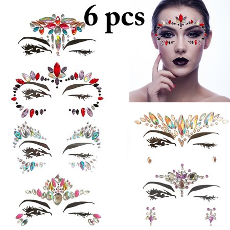 Body Gem Removable DIY Rhinestone Sticker Gem Sticker for Eyes Forehead Chest Halloween Party Costume Accessories Supplies