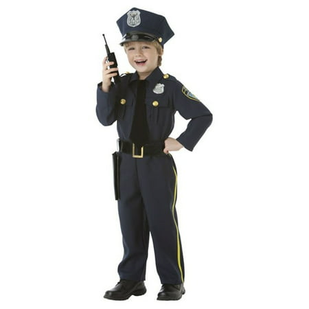 Police Officer Costume Boys Child Small 4-6 - Walmart Police Costume