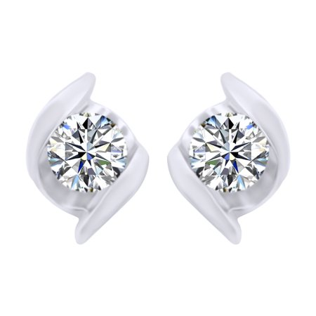 Round Shape White Natural Diamond Bar Set Stud Earrings In 10K Solid White Gold (0.1 Cttw)