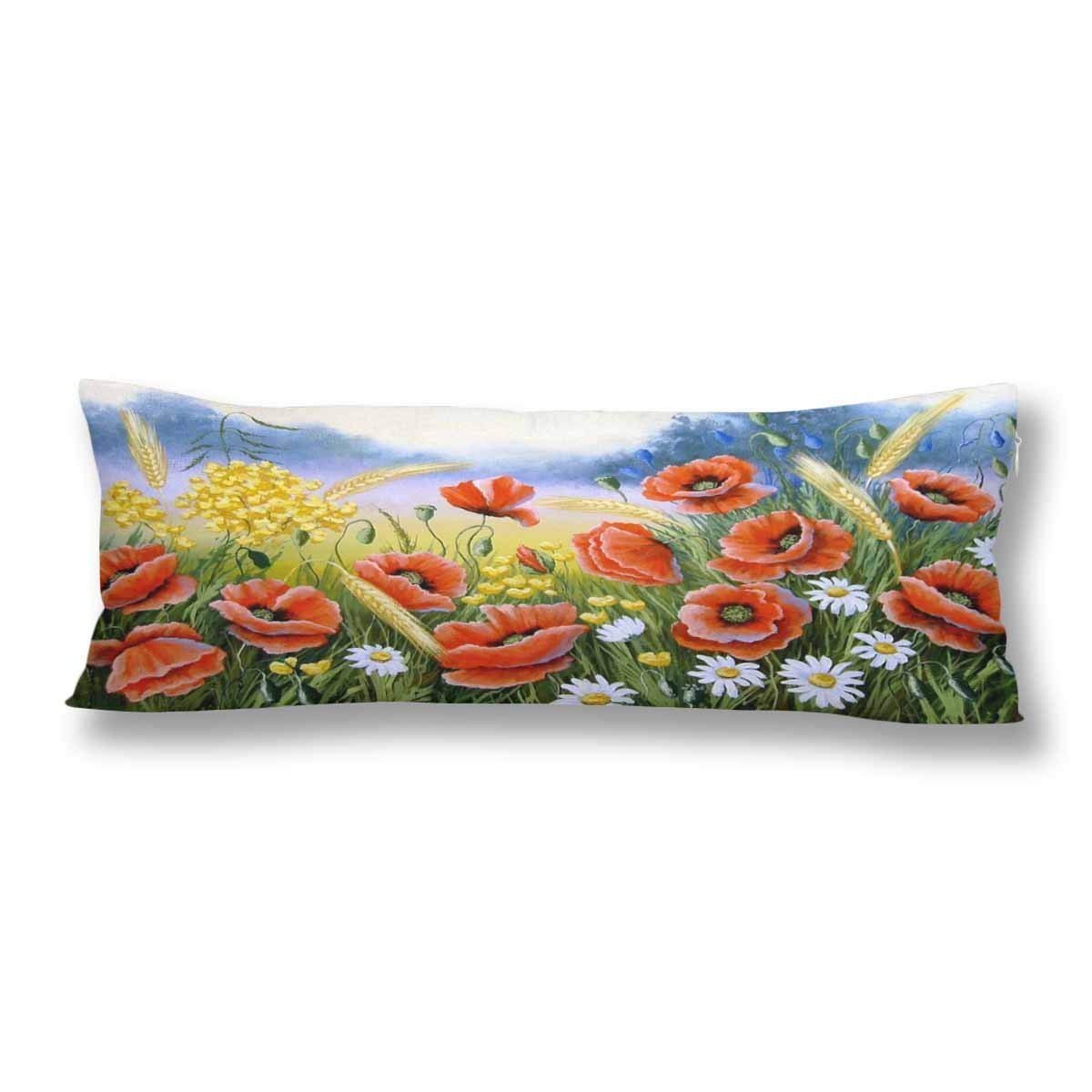 ABPHOTO Poppy Field Landscape Painting Body Pillow Covers Pillowcase 20x60 inch Flower Blue Sky Body Pillow Case Protector