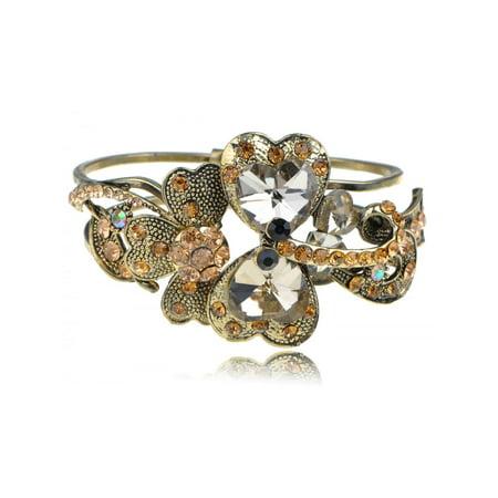 Vintage Gem Topaz Crystal Rhinestone Dragonfly Fashion Bracelet Bangle Cuff