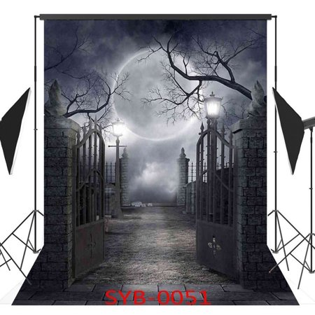 Halloween Horror Nights Doors Open (GreenDecor Polyster 5X7ft Halloween Mysterious Door Horror Nights Moon Costume Party Masquerade Decoration Photography Backdrop Photo Background Studio)