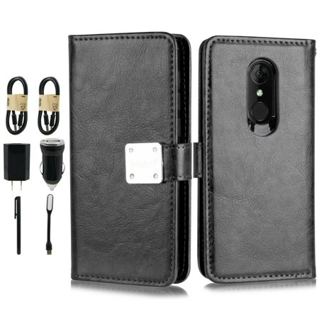 "~Value Pack~ for 5.5"" T-Mobile REVVL 2 Magnetic Back Plate Deluxe PU Leather Hybrid Pouch Pocket ID and Credit Card Slots Shockproof Flip Bumper Wallet Purse Phone Case + [Black]"