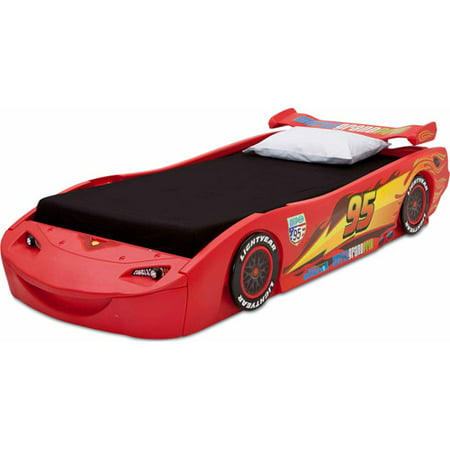 Disney Cars Headboard (Disney Pixar Cars Lightning McQueen Plastic Twin Bed with Lights by Delta)