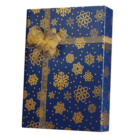 Blue and Gold Sparkling Snowflakes Birthday / Special Occasion Gift Wrap Wrapping Paper-16ft