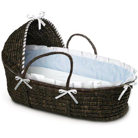 Badger Basket - Espresso Moses Basket with Hood and Blue Gingham Bedding