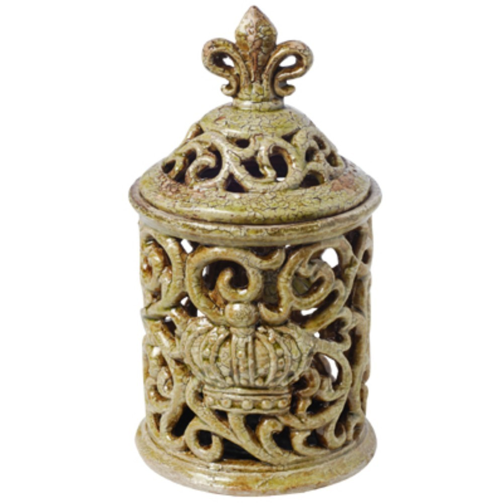 Short Decorative Ceramic Jar with Fleur-de-lis Finial, Green