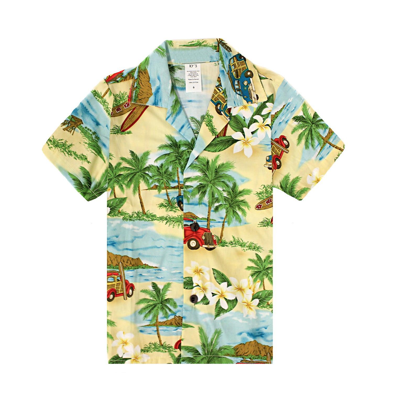 Made in Hawaii Mens Hawaiian Shirt Aloha Shirt in Surfboards and Palms in Green