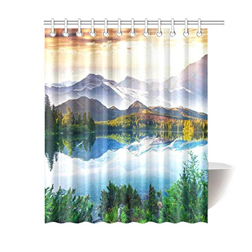 GCKG Mountain Lake Shower Curtain Fantastic Sunny Day Polyester