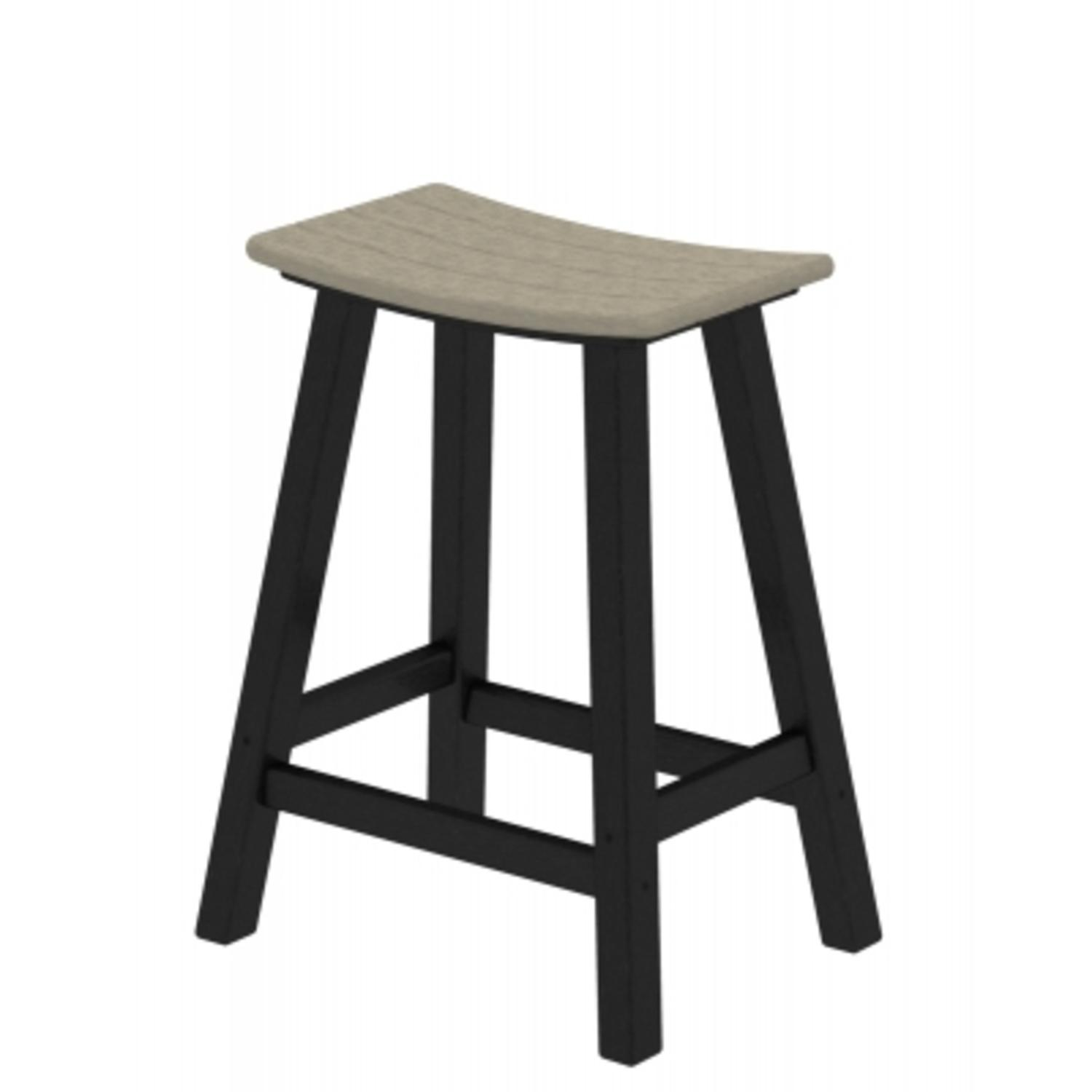 """24.75"""" Recycled Earth-Friendly Curved Outdoor Bar Stool - Sand With Black Frame"""