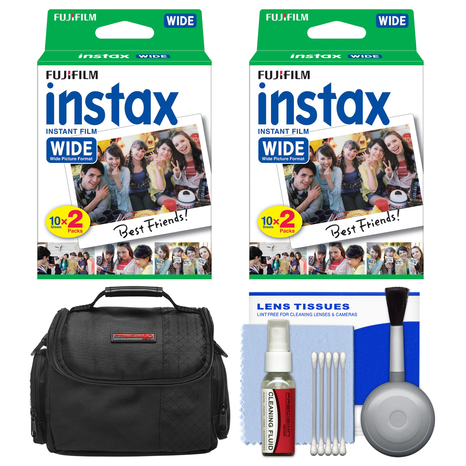 Essentials Bundle for Fujifilm Instax 210 & Wide 300 Instant Film Camera with 40 Wide Prints + Case + Cleaning Kit
