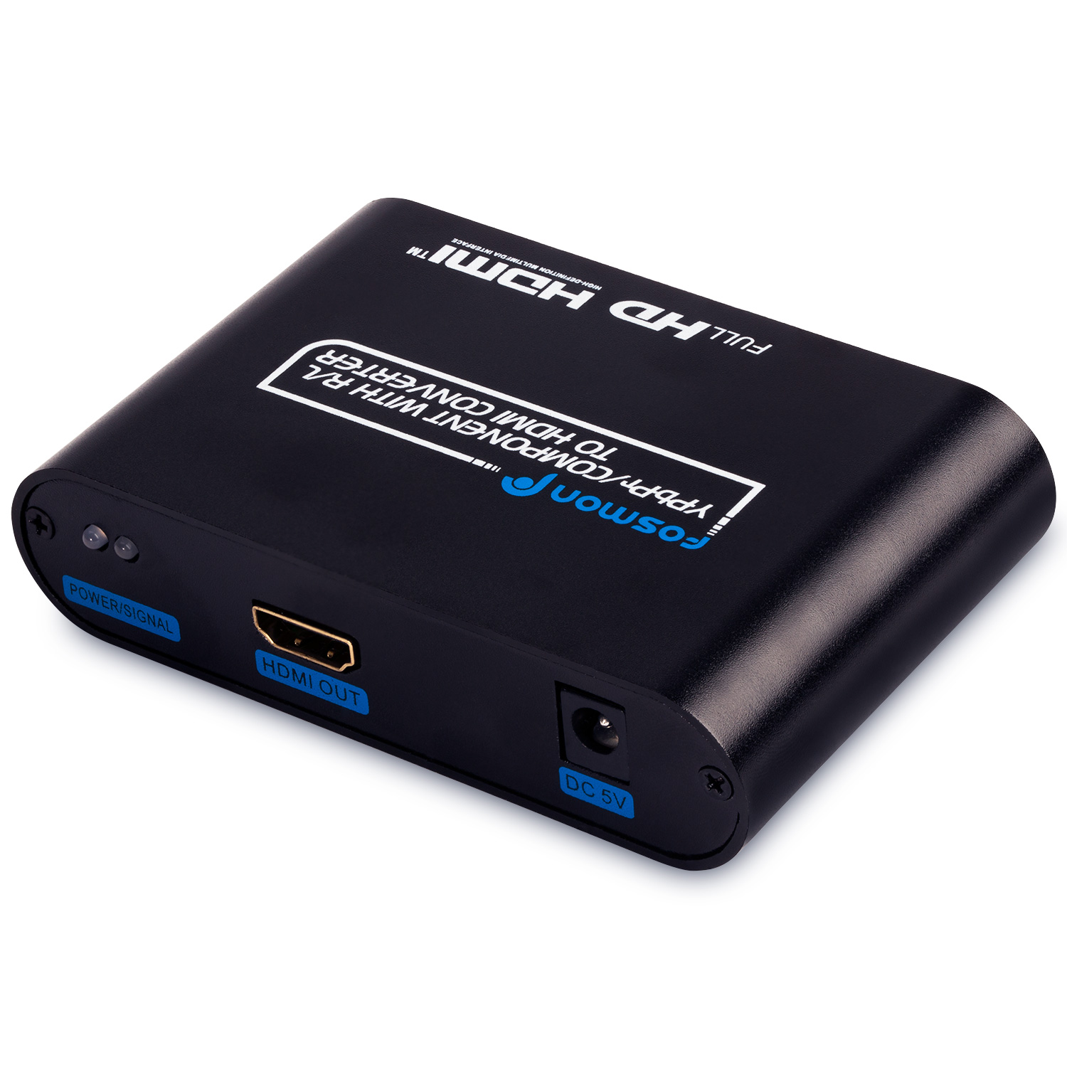 Fosmon® RGB / (YPbPr) Component AV to HDMI Converter with R/L - Metal Casing (Comes with AC Adapter)