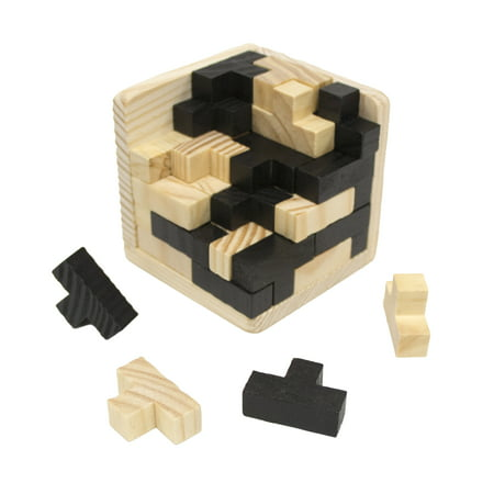 Wooden Intelligence Game 3D Wood IQ Puzzle Brain Teaser Magic Tetris Cube 54 pc (Magic Metal Puzzles)