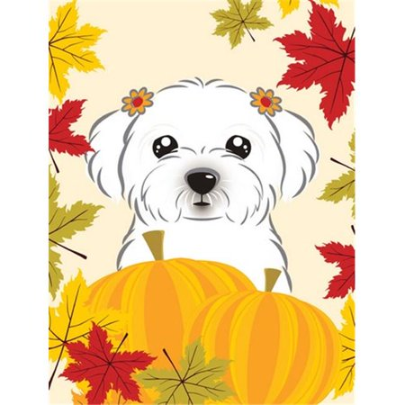 Carolines Treasures BB2014CHF Maltese Thanksgiving Canvas House Flag - image 1 de 1