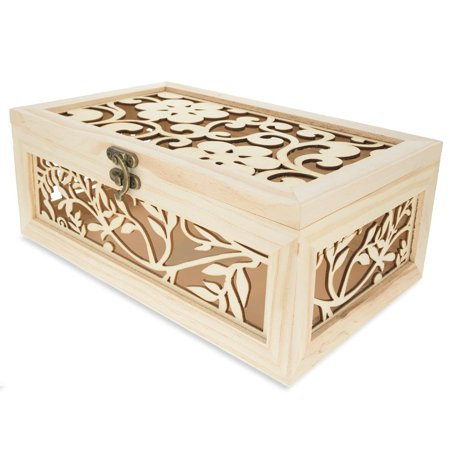 Blank Unfinished Wooden Box with Laser Cut Flower Pattern 10.38 - Wooden Boxes For Crafts