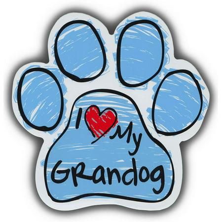 Scribble Paw Dog Magnets: I Love My Grandog | Cars, Trucks, Refrigerators ()