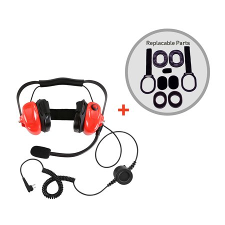 Bommeow BHDH50-M1A Noise Isolation Headphone for Motorola RDM2020 RDU4160 in Red With Service Part Replacement