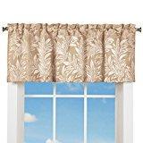 Elegant Window Valance Curtain w/ Rod Pocket Top & Leaf Design, Taupe for $<!---->