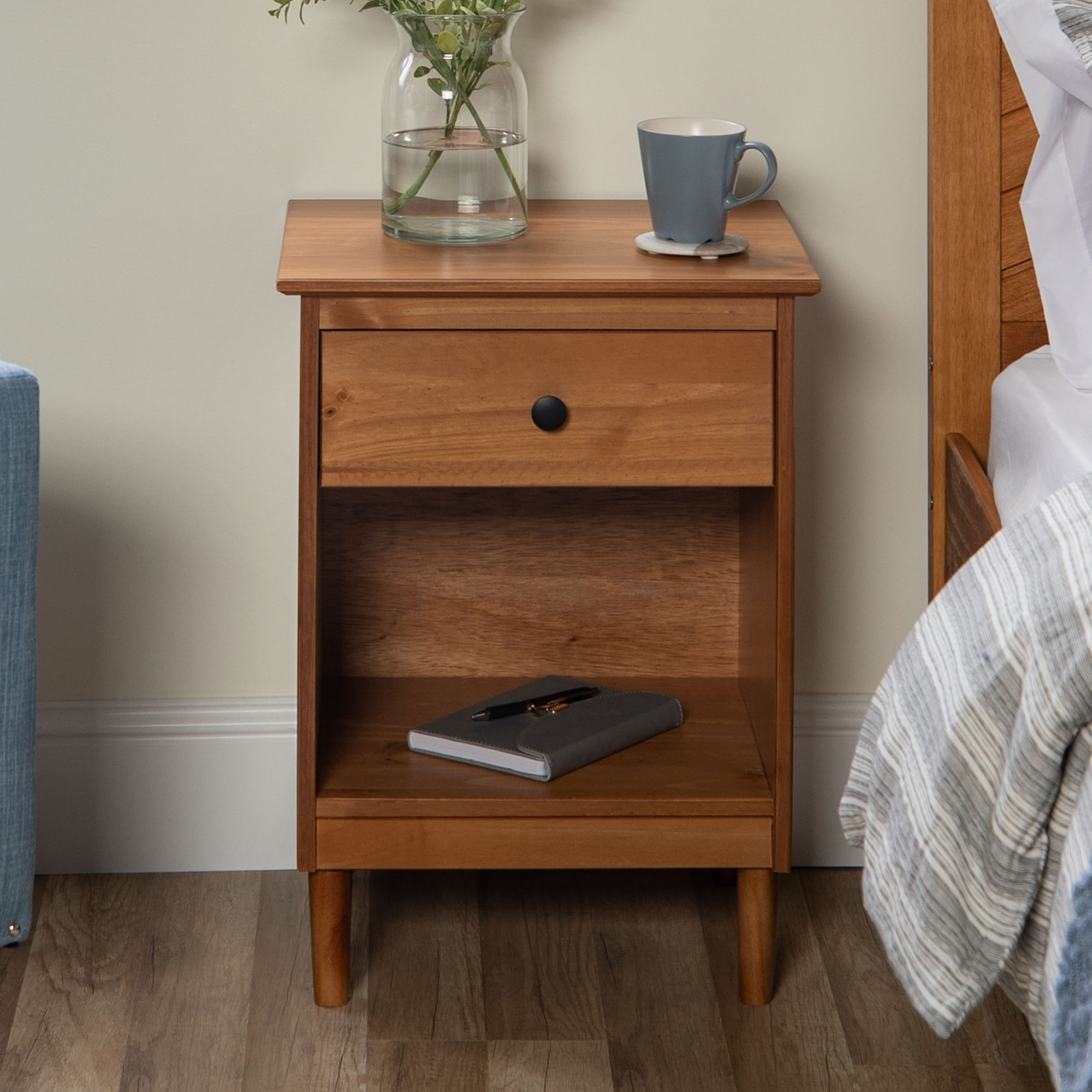 Manor Park Classic Mid-Century Modern 1-Drawer Solid Wood Nightstand - Caramel