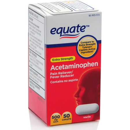 Equate Extra Strength Acetaminophen Caplets, 500 mg, 50 Ct