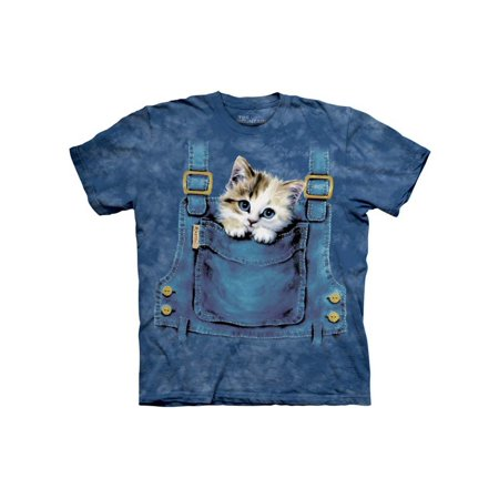 Kitten In Overalls Pocket Adult T-Shirt Tee