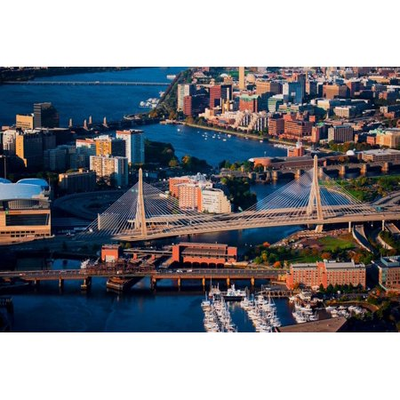 Aerial of Boston Harbor area focusing on Leonard P. Zakim Bunker Hill Memorial Bridge, Boston, MA Print Wall