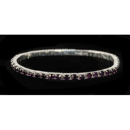 #11950 Single Row Stretch Rhinestone Bracelet - Amethyst Crystal  Silver
