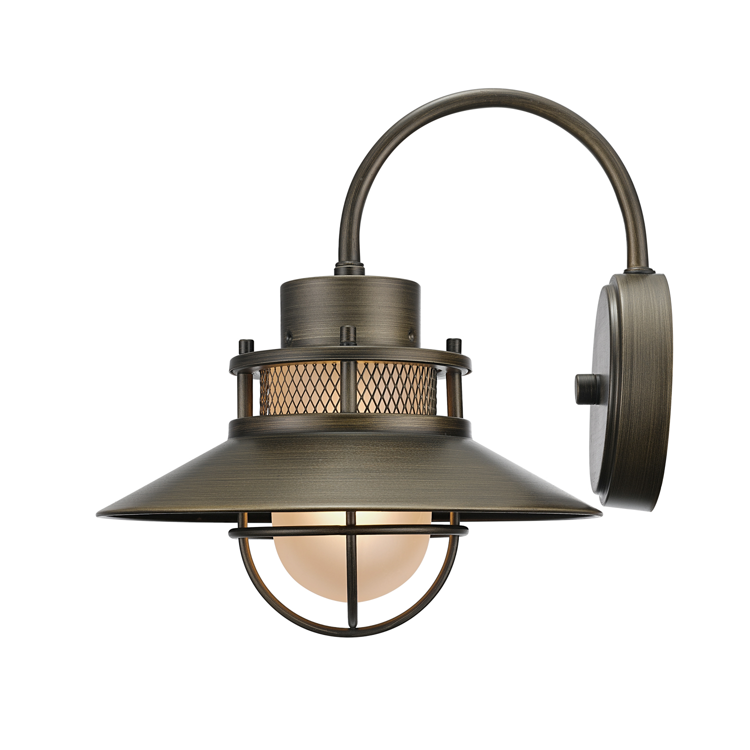 Globe Electric Liam 1-Light Bronze Outdoor Indoor Wall Sconce with Frosted Glass Shade, 44097