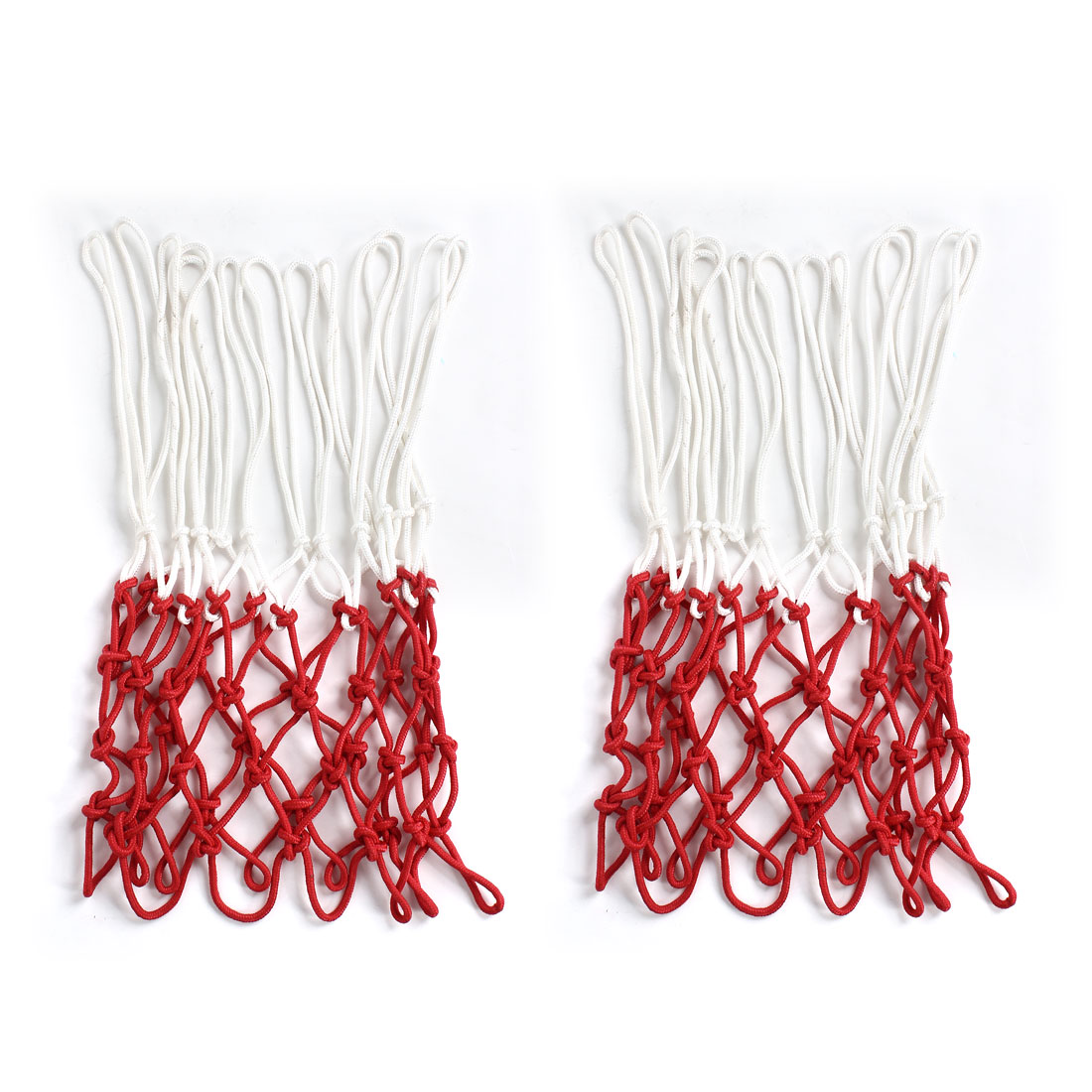 Unique Bargains 2 Pcs 17  Long Indoor Outdoor Classic Nylon Basketball Nets White Red